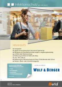 Infektionsschutz transparent in der Coronakrise bei Wulf und Berger